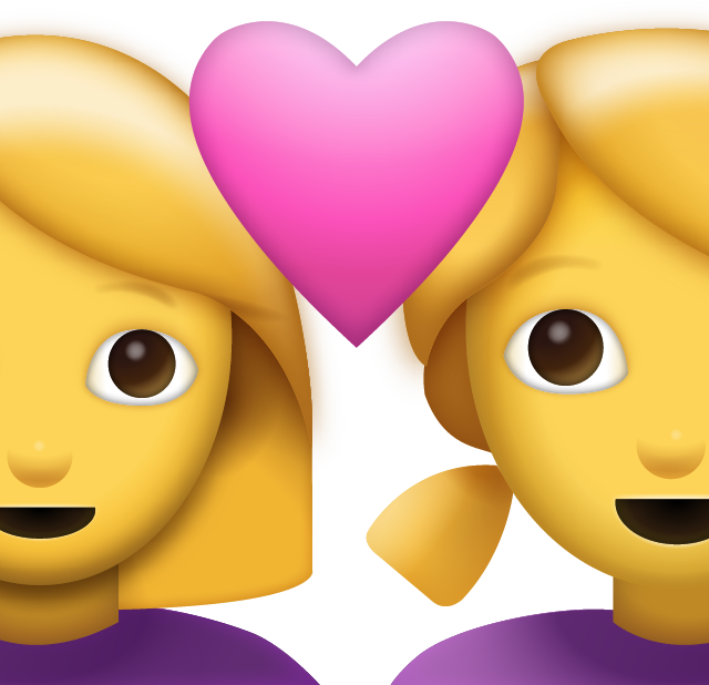 Two Women With Heart Emoji [Free Download iPhone Emojis] Icon Download Free PNG Image